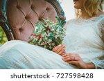 bride showing off her beautiful ... | Shutterstock . vector #727598428