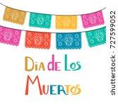 dia de los muertos  mexican day ... | Shutterstock .eps vector #727599052