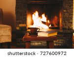 cup of hot drink in front of... | Shutterstock . vector #727600972