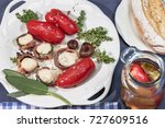 confit of san marzano tomatoes... | Shutterstock . vector #727609516