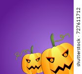scary halloween pumpkins purple ... | Shutterstock . vector #727611712