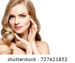 blonde hair model woman.... | Shutterstock . vector #727621852