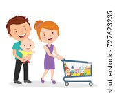 family walking with shopping... | Shutterstock .eps vector #727623235