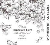 vintage floral card line art.... | Shutterstock .eps vector #727632268