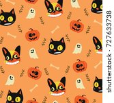 cute cartoon for halloween... | Shutterstock .eps vector #727633738