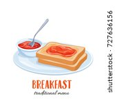 vector toast with jam.... | Shutterstock .eps vector #727636156
