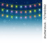 christmas light bulbs on starry ... | Shutterstock .eps vector #727643362