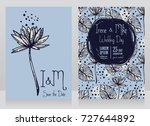 two wedding cards with lotus... | Shutterstock .eps vector #727644892