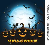 happy halloween background with ... | Shutterstock .eps vector #727649002