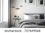 scandinavian style bedroom with ... | Shutterstock . vector #727649068