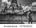 thai monk in wat yai chai...