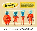friendly aliens. cartoon... | Shutterstock . vector #727663366