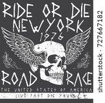 tee skull motorcycle graphic... | Shutterstock .eps vector #727667182