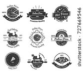 pizza vintage emblems... | Shutterstock .eps vector #727669546