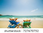 couple on the beach at tropical ... | Shutterstock . vector #727670752