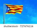 catalonia flag on the blue sky... | Shutterstock . vector #727676116