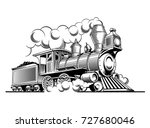 vintage steam train locomotive  ... | Shutterstock .eps vector #727680046