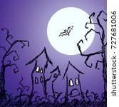 halloween dark blue background... | Shutterstock .eps vector #727681006