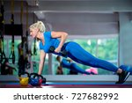 fitness girl doing dumbbells... | Shutterstock . vector #727682992