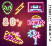 set retrowave neon sign. neon... | Shutterstock .eps vector #727688815