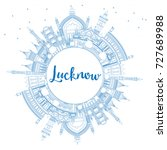 outline lucknow skyline with... | Shutterstock .eps vector #727689988