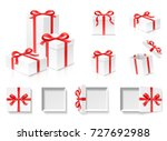 empty open gift box set with... | Shutterstock .eps vector #727692988