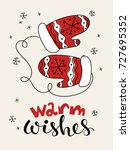 vector christmas card. greeting ... | Shutterstock .eps vector #727695352