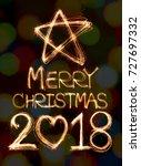 merry christmas 2018  written... | Shutterstock . vector #727697332