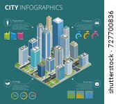 city infographics. isometric... | Shutterstock .eps vector #727700836