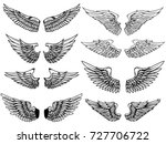 set of vintage wings... | Shutterstock .eps vector #727706722