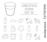 milk set icons in outline style.... | Shutterstock . vector #727707595