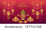 happy diwali festival card with ... | Shutterstock .eps vector #727711768