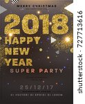 christmas 2018 party poster... | Shutterstock .eps vector #727713616