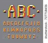 geometric polygonal alphabet.... | Shutterstock .eps vector #727718656