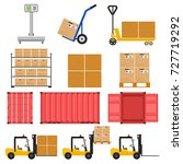 forklift. scales for large... | Shutterstock . vector #727719292