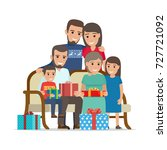 family gathered together and... | Shutterstock . vector #727721092