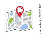 map navigation gps with pointer ... | Shutterstock .eps vector #727731136