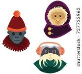 cartoon monkey in a hat.... | Shutterstock .eps vector #727733962