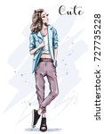 hand drawn fashion model posing.... | Shutterstock .eps vector #727735228