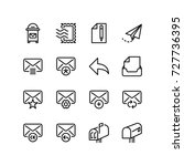 postal mail and email icon set | Shutterstock .eps vector #727736395