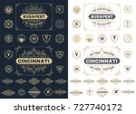 set of vintage badges | Shutterstock .eps vector #727740172