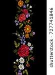 floral red rose blue violet... | Shutterstock .eps vector #727741846