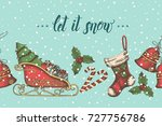 vintage seamless pattern with... | Shutterstock .eps vector #727756786