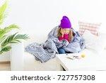 girl having flu | Shutterstock . vector #727757308