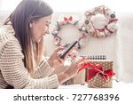 beautiful girl with christmas...   Shutterstock . vector #727768396