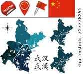 vector map of wuhan with named... | Shutterstock .eps vector #727778395
