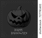 jack o lantern engraving... | Shutterstock .eps vector #727781602