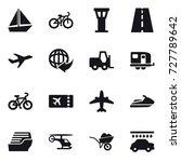 16 vector icon set   boat  bike ... | Shutterstock .eps vector #727789642