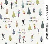happy holidays. winter ice... | Shutterstock .eps vector #727791865