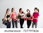 young woman with mats for yoga... | Shutterstock . vector #727797826